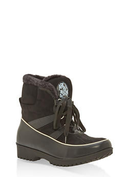 Weatherproof Lace Up Snow Booties - 1115073543546