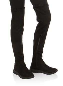Over the Knee Boots with Sneaker Sole - BLACK SFS - 1116004063686