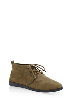 Faux Suede Lace Up Desert Booties - OLIVE F/S - 1116004066288