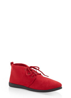 Faux Suede Lace Up Desert Booties - RED F/S - 1116004066288