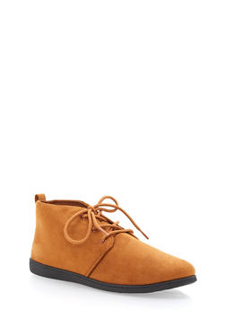 Faux Suede Lace Up Desert Booties - COGNAC F/S - 1116004066288