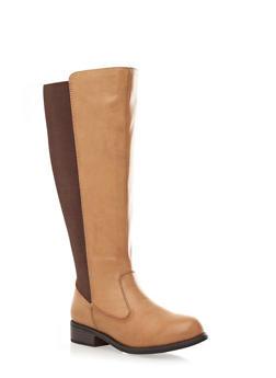 Mid-High Ribbed Panel Flat Boot With Zipper Closure,CHESTNUT,medium