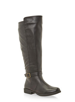 Wide Calf Knee High Boots with Buckle Strap - 1116004067670