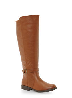 Wide Calf Knee High Boots with Buckle Strap - CHESTNUT - 1116004067670