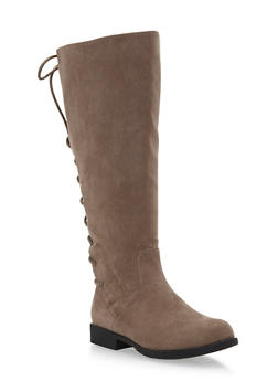 Wide Calf Tall Flat Boots with Lace Up Detail - 1116004067671