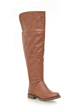 Wide Calf Knee High Boots with Stretchy Back Panel,CHESTNUT,medium