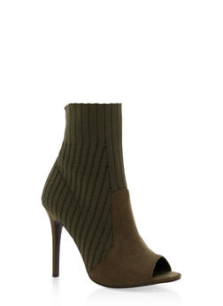 Open Toe Knit High Heel Booties - 1116004067697