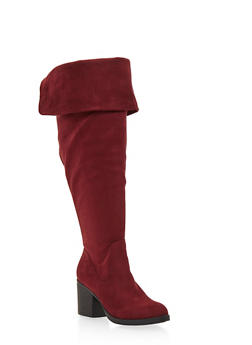 Wide Calf Knee High Boots with Foldover Cuff - 1116004068428