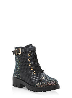Faux Suede and Glitter Lace Up Work Boots - BLACK PRM - 1116004068734