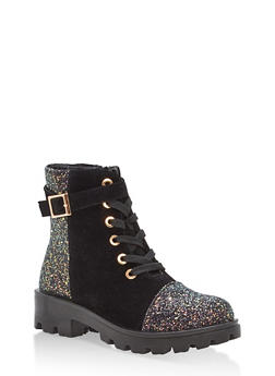 Faux Suede and Glitter Lace Up Work Boots - 1116004068734