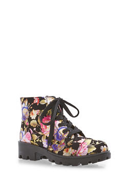 Lace Up Booties - BLACK FABRIC - 1116004068736