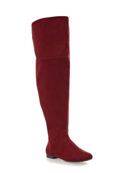 Wide Calf Zipper Foldover Knee-High Flat Boots,BURGUNDY,medium