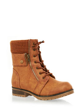 Exposed Zipper And Sweater Trim Lace-Up Faux Leather Combat Boots,CHESTNUT,medium