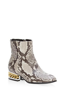 Chain Heel Pointed Toe Booties - 1116014064975