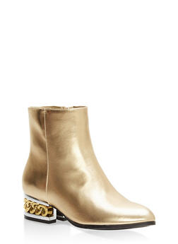 Chain Heel Pointed Toe Booties - GOLD CRP - 1116014064975