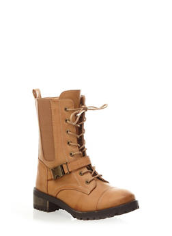 Lace-Up Hiking Boots with Side Squeeze Buckle,CHESTNUT,medium