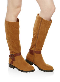 Side Zip Buckle Riding Boots - TAN F/S - 1116014066663
