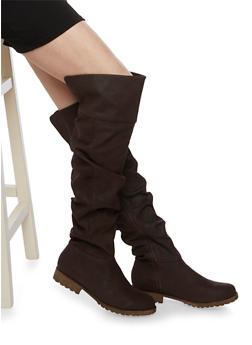 Ruched Knee High Boots with Round Toes - 1116014066675