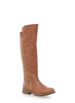 Quilted Boots with Lug Soles,CHESTNUT,medium
