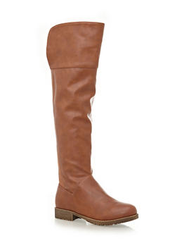 Knee-High Boots with Lug Soles,CHESTNUT,medium