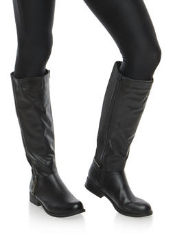 Zipper Detail Stretch Tall Boots - 1116014067458
