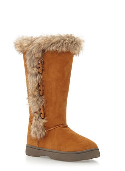 Faux Suede Boots with Faux Fur Trim - 1116014068252