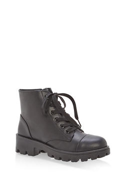 Faux Leather Lace Up Lug Sole Booties - BLACK PU - 1116014068736