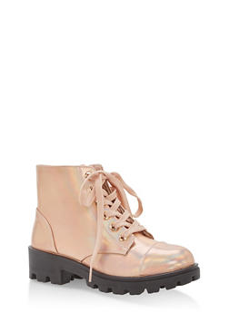 Faux Leather Lace Up Lug Sole Booties - ROSE GOLD HMP - 1116014068736