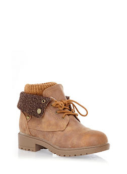 Foldover Hiking Booties with Sweater Knit Cuff,CHESTNUT,medium