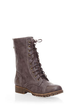 Mid High Lace-Up Combat Boots with Exposed Zipper,BROWN,medium