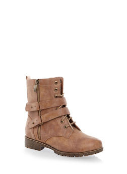 Exposed Zipper Two-Strap Lace-Up Faux Leather Ankle Bootie - 1116014069272