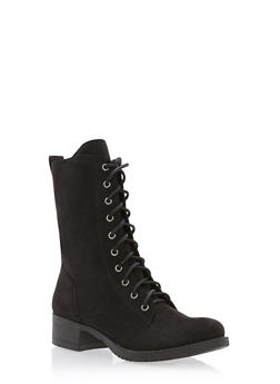 Lace Up Combat Boots - BLACK F/S - 1116027617165