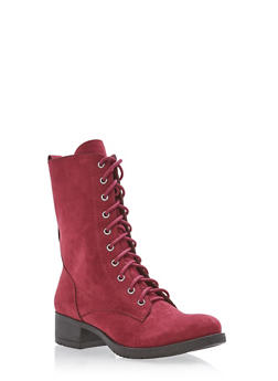 Lace Up Combat Boots - BURGUNDY - 1116027617165