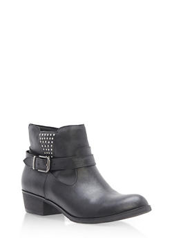 Side Buckle Studded Booties - 1116027617168