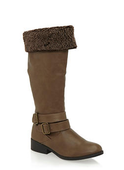 Shearling Foldover Cuff Riding Boots - 1116029917529