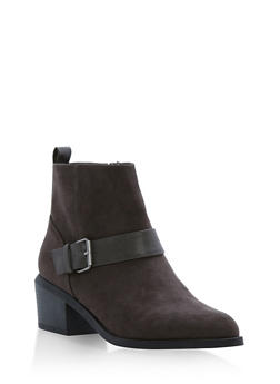 Faux Suede Booties with Buckle Accent - CHARCOAL F/S - 1116029918474