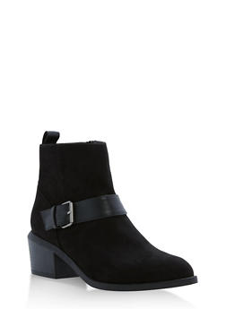 Faux Suede Booties with Buckle Accent - BLACK F/S - 1116029918474