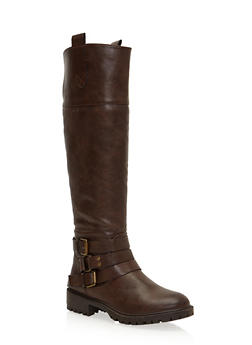 Riding Boots with Ankle Straps - 1116029919257
