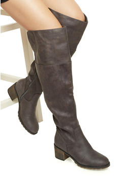 Wide Calf Faux Leather Over the Knee Boots - 1116040520101