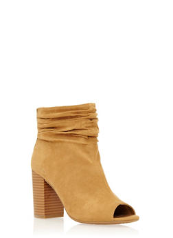 Faux Suede Ankle Boots with Open Toes and Ruched Ankles - 1116056632686