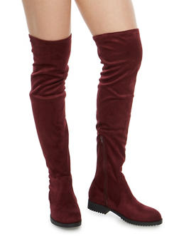 Flat Over the Knee Boots - BURGUNDY F/S - 1116056633727
