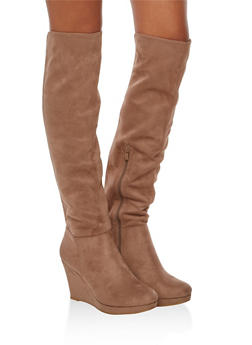 Faux Suede Over the Knee Wedge Boots - 1116056635683