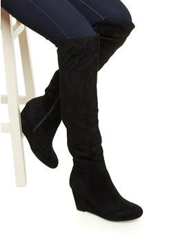 Faux Leather Knee-High Wedge Boots with Elastic at Back - 1116056638659