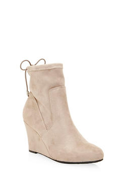 Faux Suede Wedge Ankle Boots with Cinch Top - 1116056638660