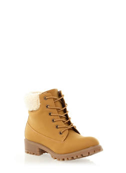 Faux Shearling Collar Lace-Up Work Boot,CHAMOIS,medium