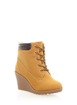 Wedge Lace-Up Bootie,CHAMOIS,medium