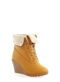 Faux Shearling Fold-Over Wedge Bootie,CHAMOIS,medium
