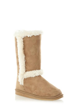 Faux Suede Boots with Faux Fur Trim,NATURAL,medium