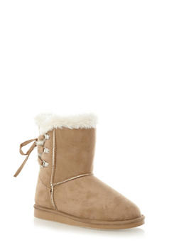 Ankle Boots with Faux Shearling Trim and Lace-up Back,NATURAL,medium