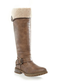 Knee-High Ankle Buckle Boot With Snap Button Shearling Fold Down,BROWN,medium